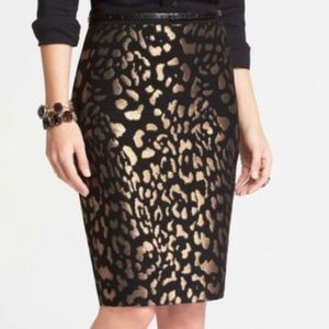 Ann Taylor Black & Gold Midi Pencil Skirt